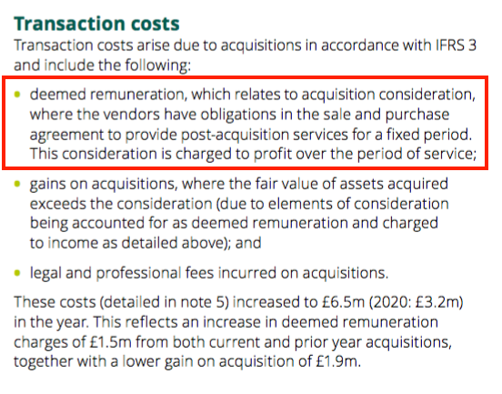 BEG AR 2021 transaction costs notes
